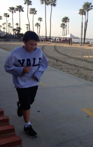 Martin Jr. completes a 7 mile training run at the beach.