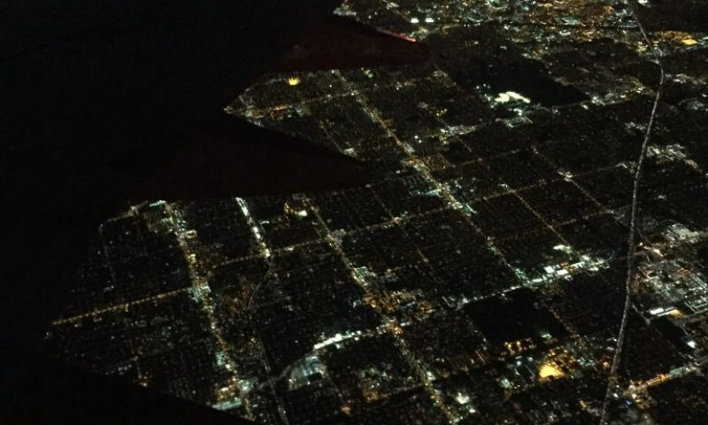 overhead view of a city at night